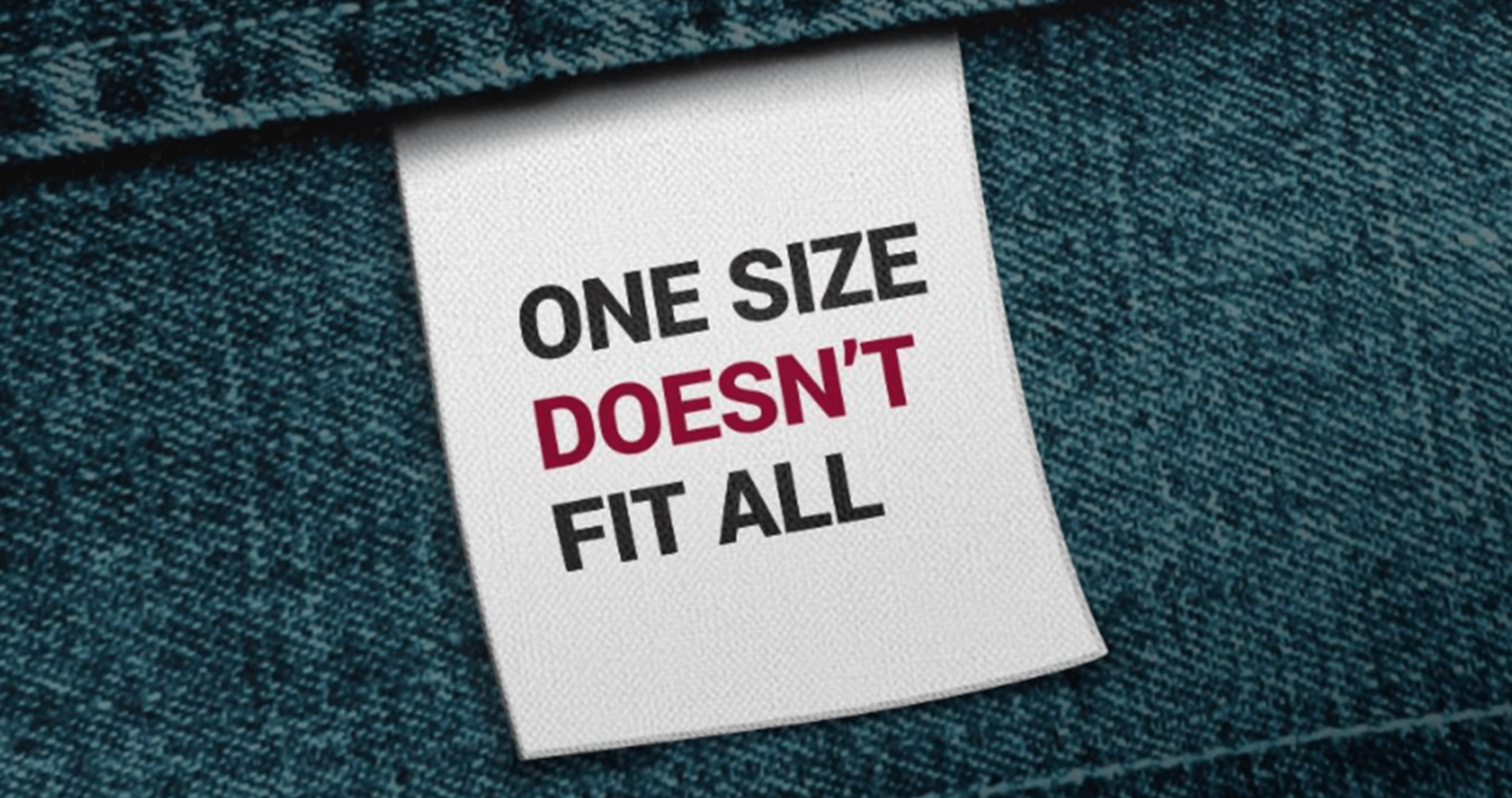Risk culture is not one size fits all. Clothe tag with one size fit's all written
